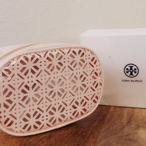 TORY BURCH pink perforated makeup bag new w box
